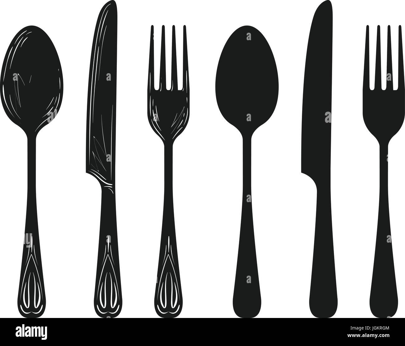 Oggetti per il servizio da tavola come cucchiaio, coltello ...