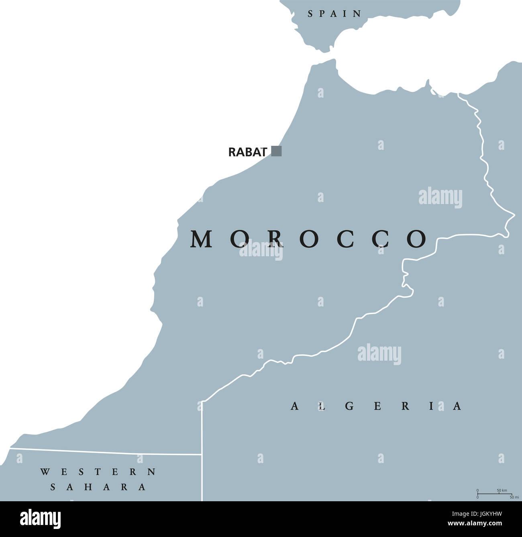 Cartina Geografica Fisica Del Marocco.Il Marocco Mappa Politico Con Capitale Rabat E Frontiere Unito E Paese Arabo Nella Regione Del Maghreb Del Nord Africa Illustrazione Di Grigio Foto Stock Alamy