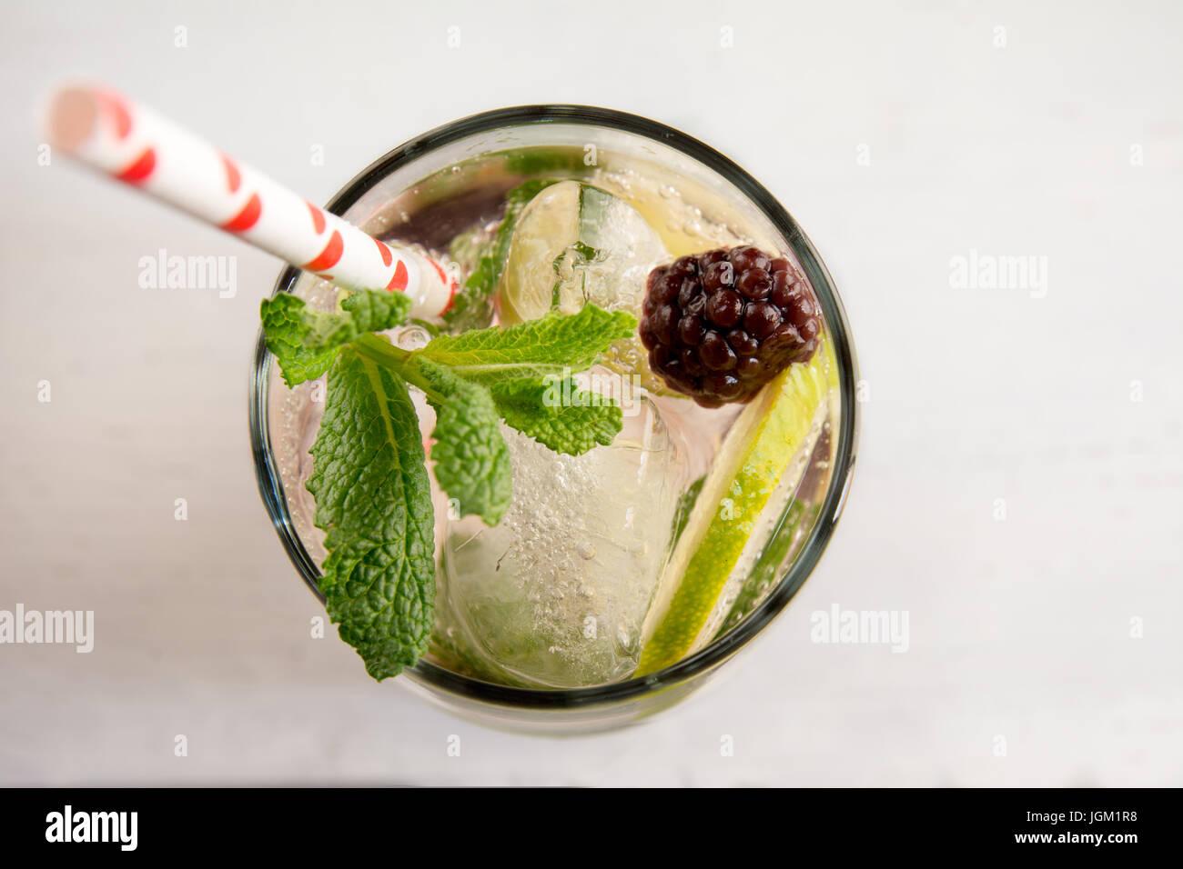 Il gin tonic cocktail con calce, frutto rosso ghiaccio e menta, sfondo bianco. Close up dettaglio Immagini Stock