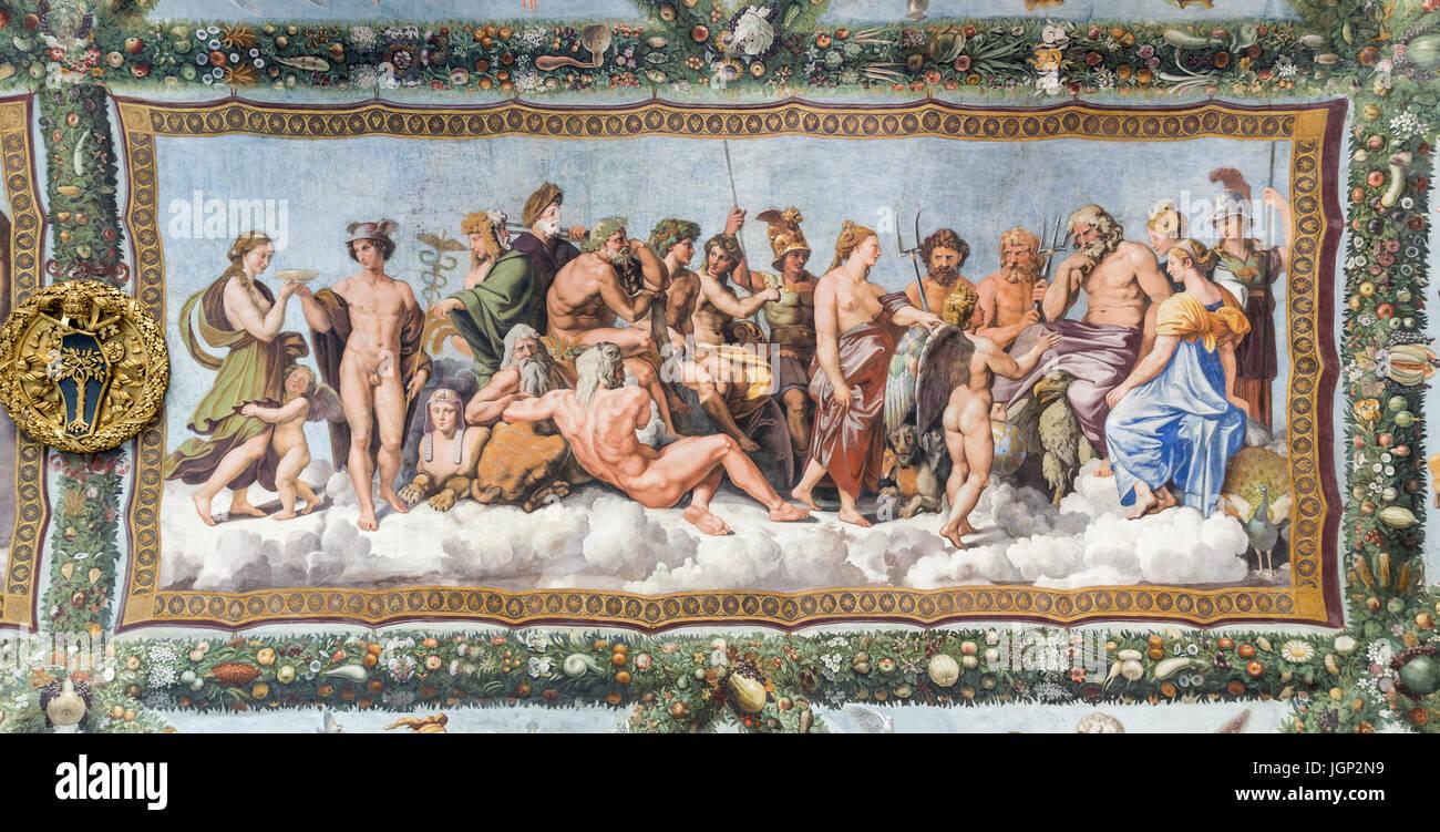 Il Consiglio degli Dèi, affresco di Raffaello, Villa Farnesina, Roma, Italia Immagini Stock