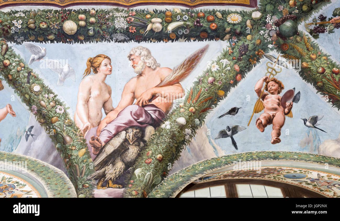 Affresco di Venere e Giove da Giovanni Francesco Penni, Villa Farnesina, Roma, Italia Immagini Stock
