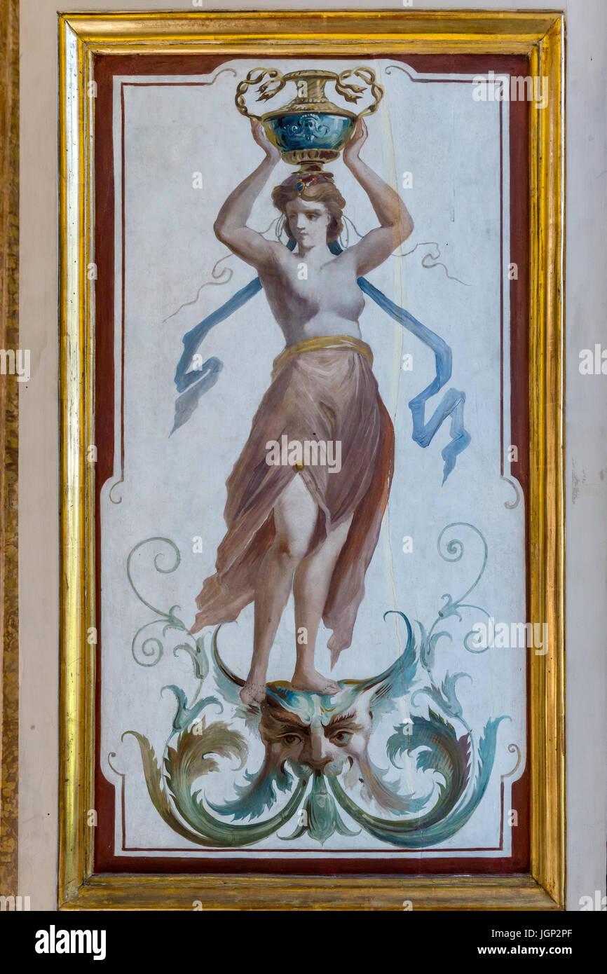 Dipinto di ciechi della finestra da Villa Farnesina, Roma, Italia Immagini Stock
