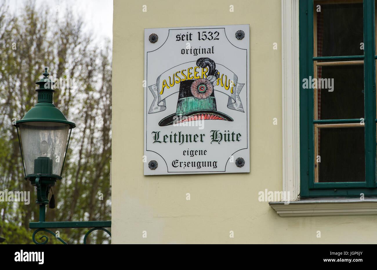 Segno per Hatter workshop, Werkstatt Tafel Leithner, cappellaio workshop, Bad Aussee, Stiria, Austria Immagini Stock