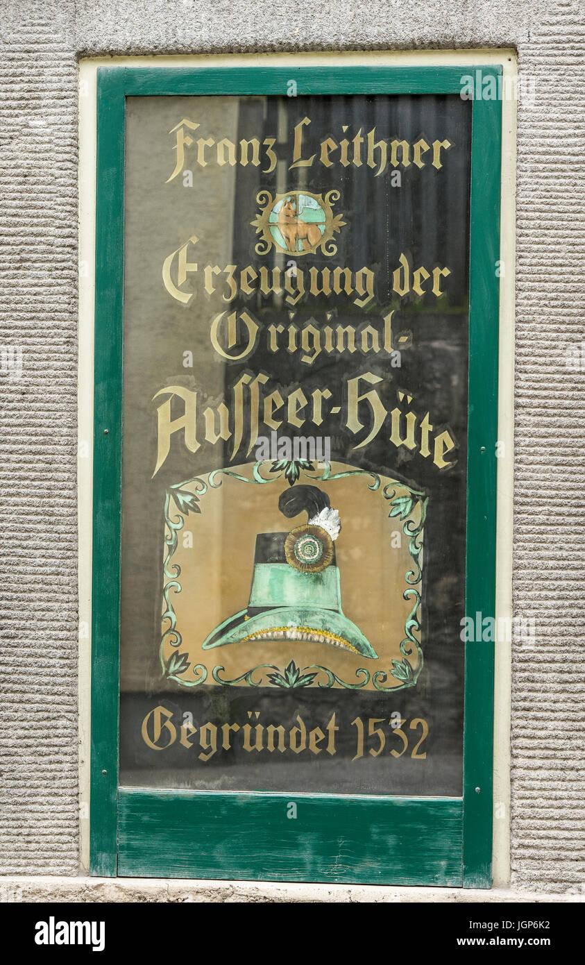 Vecchio hatter workshop, Werkstatt Tafel Leithner, cappellaio workshop, Bad Aussee, Stiria, Austria Immagini Stock
