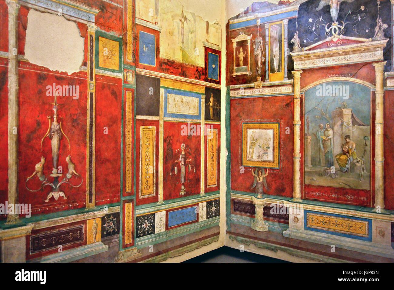 Affreschi rom la Villa della Farnesina nel Museo Nazionale Romano: Palazzo Massimo alle Terme di Roma, Italia Immagini Stock