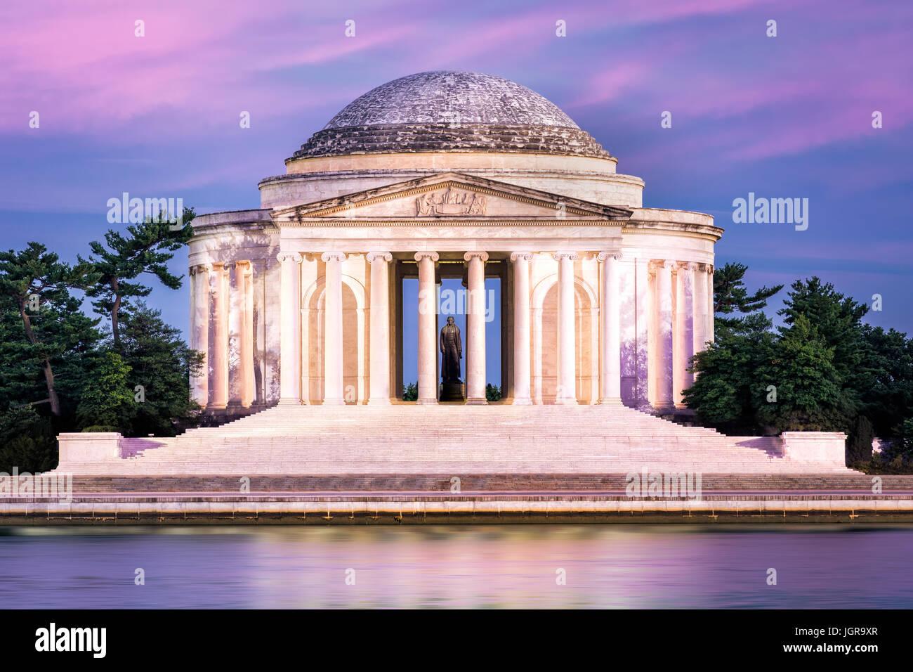 Jefferson Memorial a Washington DC. Il Jefferson Memorial è un edificio pubblico gestito dal servizio del parco Immagini Stock
