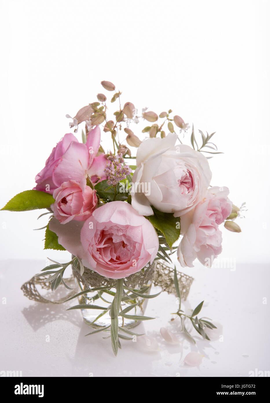 Mazzo Di Fiori Un Inglese.Bella Rosa Inglese Mazzo Di Fiori Su Sfondo Bianco Foto Immagine