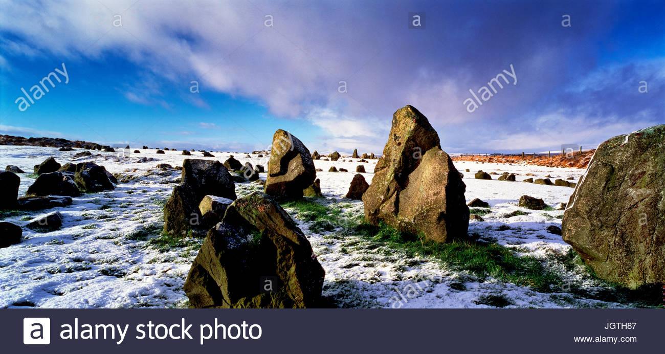 Beaghmore circoli di pietra nella neve. Immagini Stock