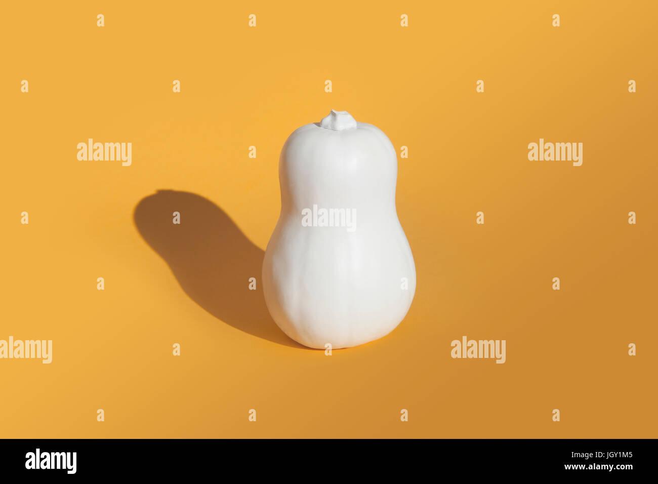 La zucca dipinto di bianco su sfondo arancione Immagini Stock