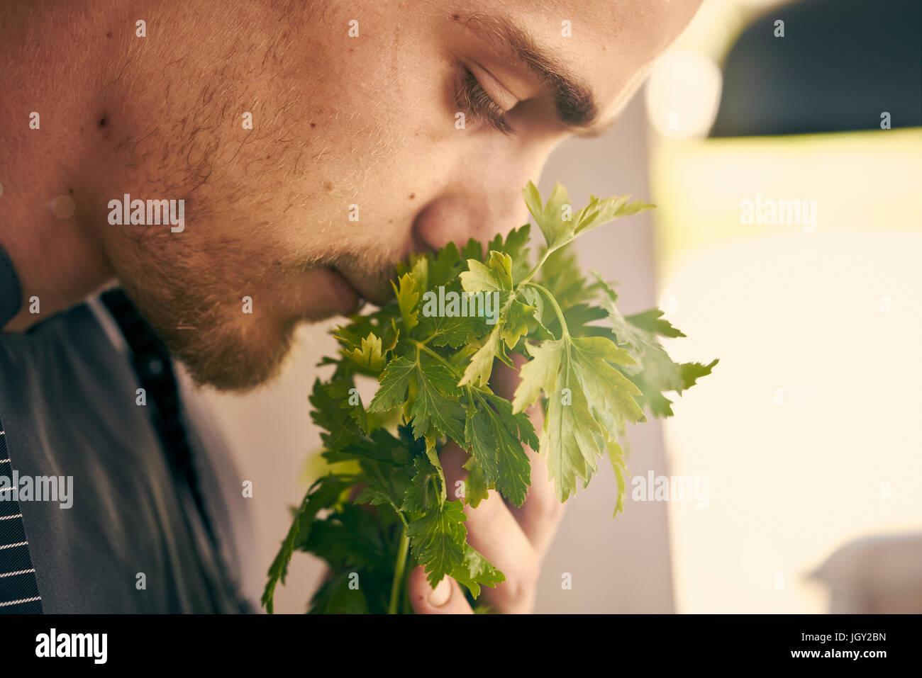 Lo Chef odorosi di erbe fresche Immagini Stock