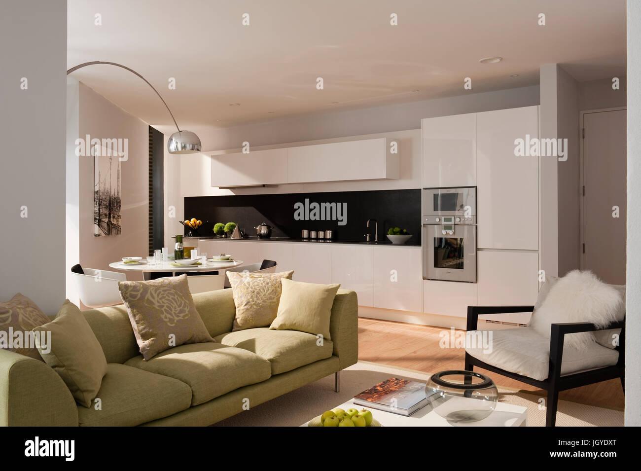 Cucina Con Salotto.Salotto A Pianta Aperta E Una Cucina Con Divano Verde Foto