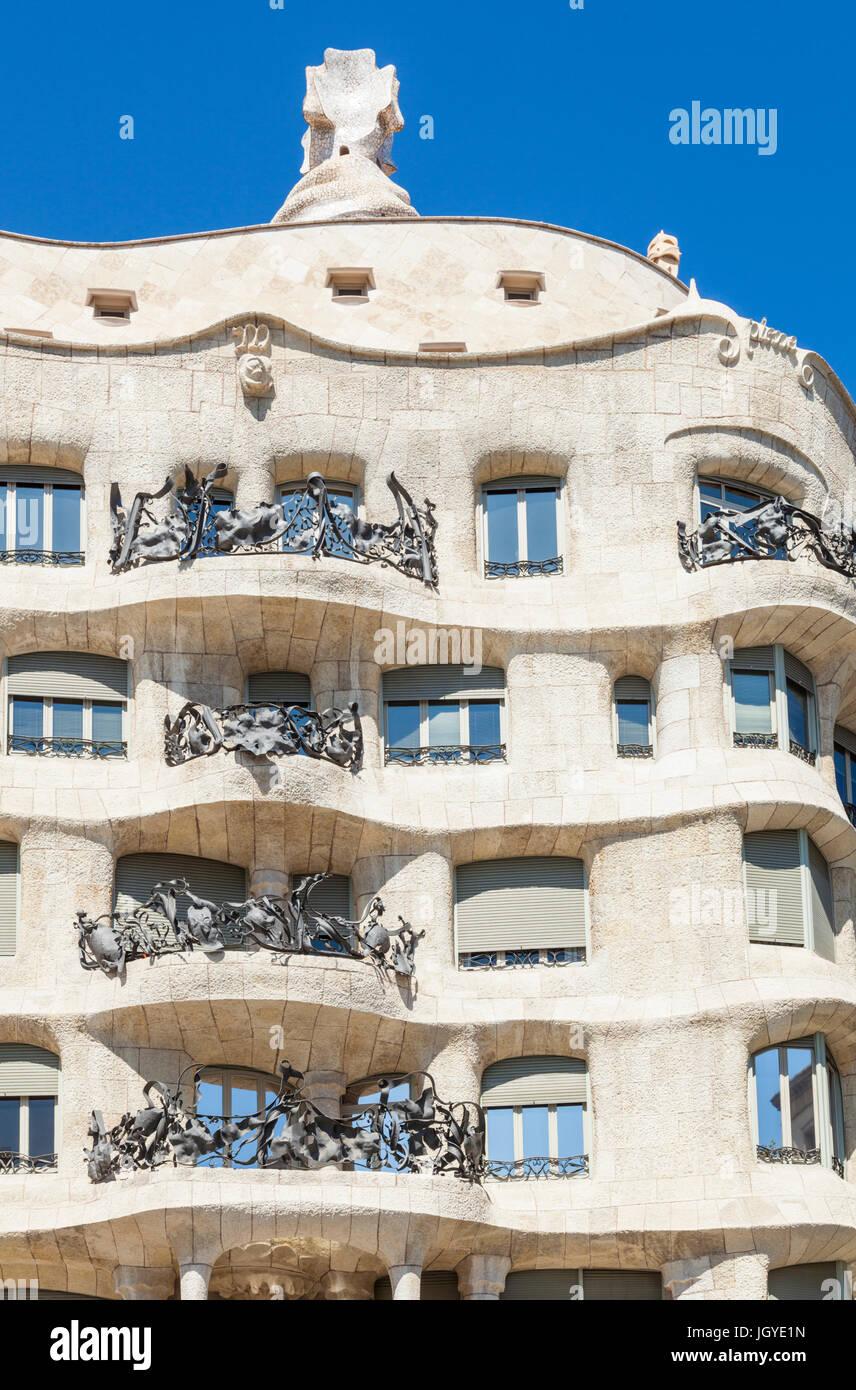 Barcellona Catalunya Barcellona Spagna La Pedrera Barcellona Casa Mila Barcellona dal architetto Antoni Gaudi UE Immagini Stock
