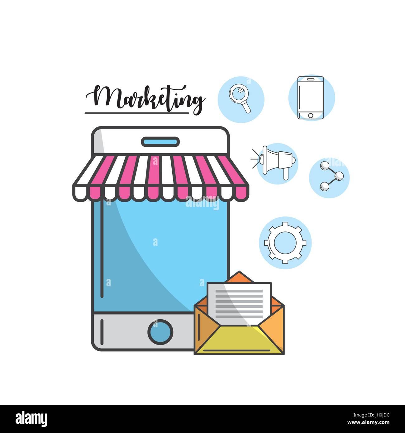 Smartphone con messaggio di posta elettronica della società Immagini Stock