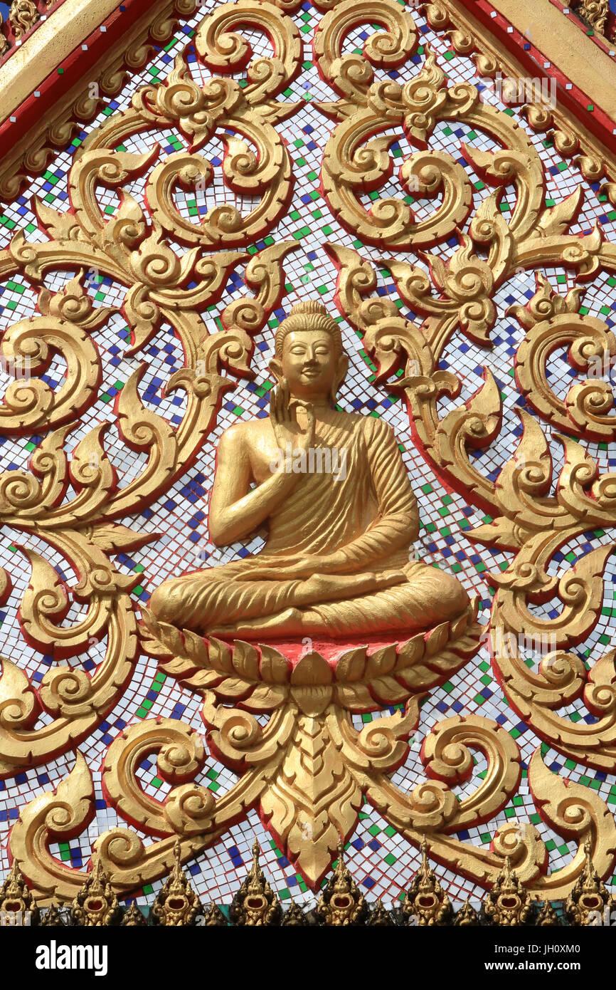 Il primo sermone del Buddha ha dato dopo il raggiungimento dell Illuminismo. Wat Si Sou Mang Karam Tempio. Vang Immagini Stock