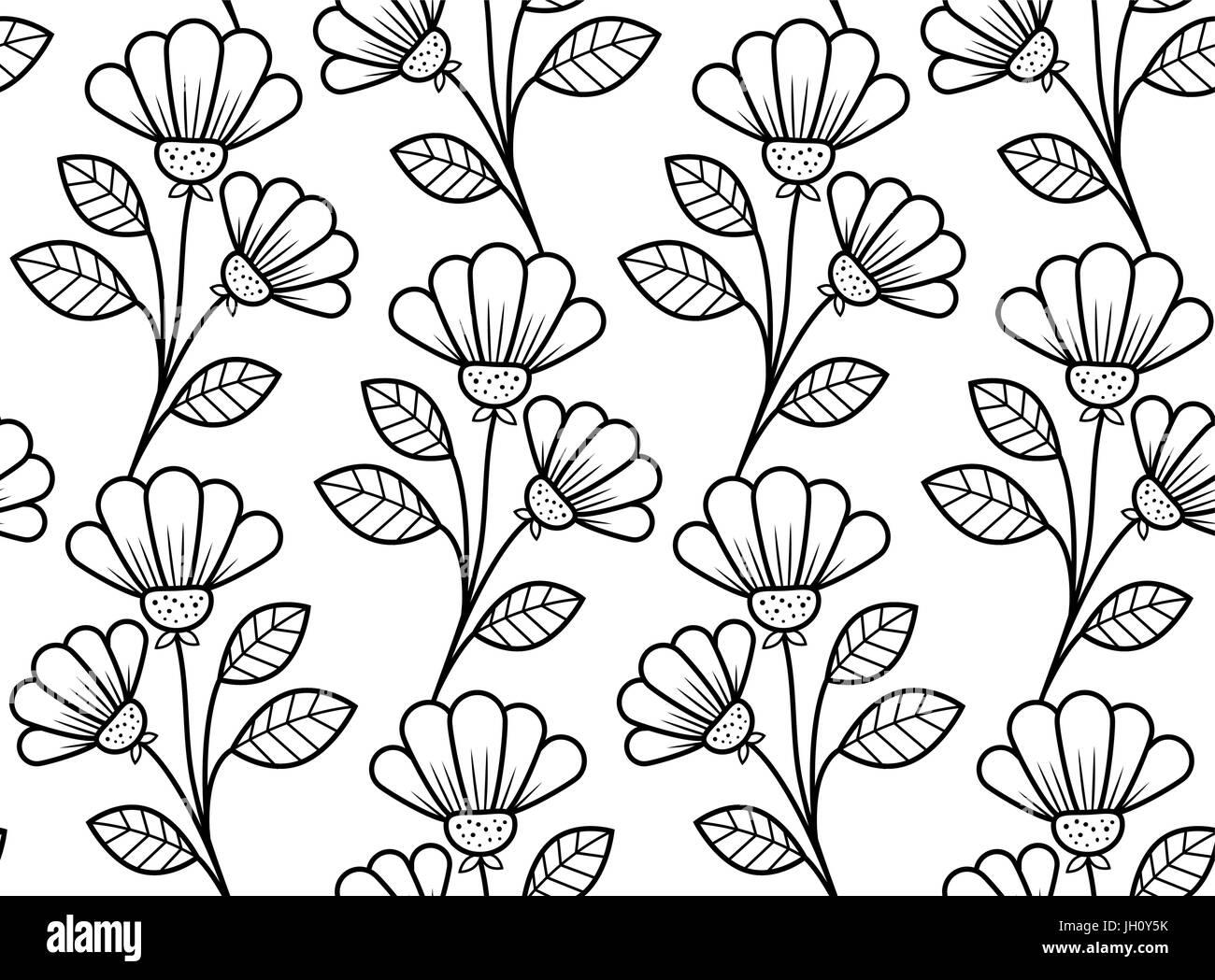 Fiori Vettoriali.Botanical Seamless Pattern Disegnati A Mano Fiori Vettoriali In