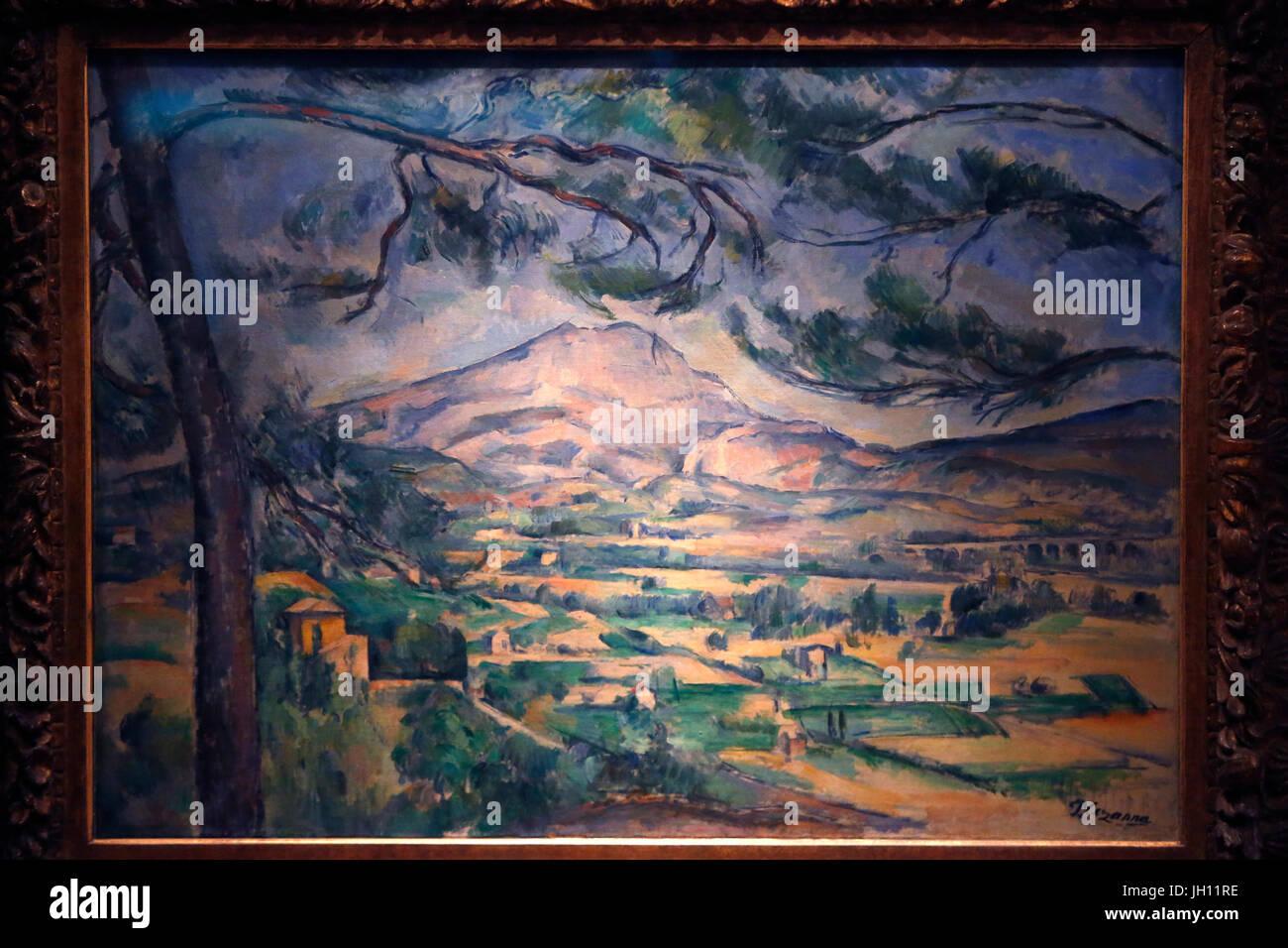 Il Courtauld Gallery. Paolo CŽzanne. Il Montagne Sainte-Victoire. Intorno al 1887. Olio su tela. Regno Unito. Immagini Stock