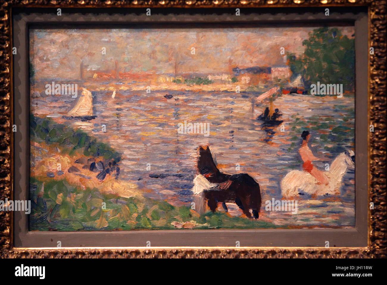 Il Courtauld Gallery. Georges Seurat. Cavalli in acqua, intorno al 1883. Olio su pannello. Regno Unito. Immagini Stock