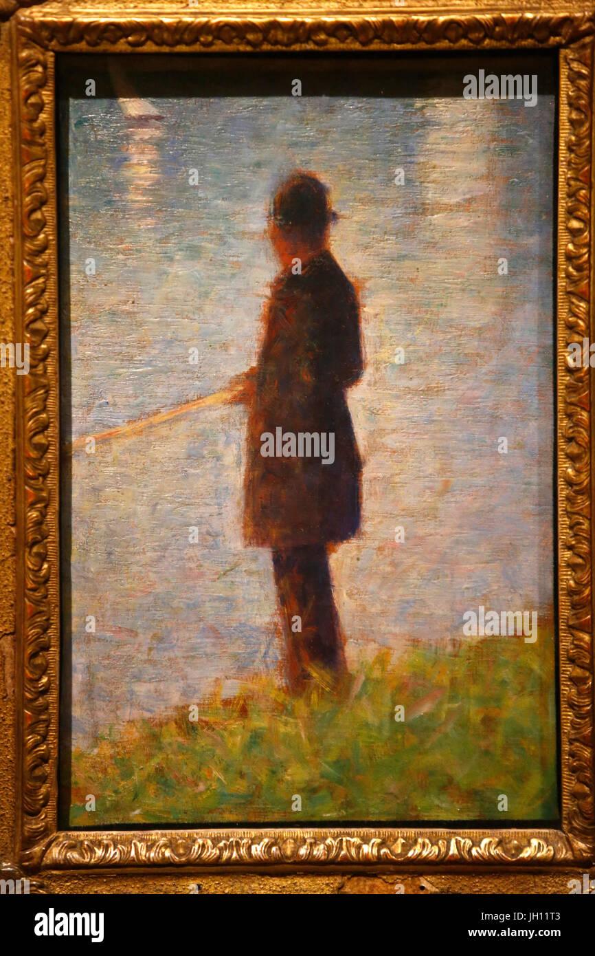 Il Courtauld Gallery. Georges Seurat. Il Pescatore, intorno al 1882. Olio su pannello. Regno Unito. Immagini Stock