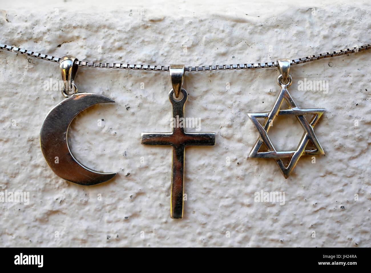 Simboli di islam, il cristianesimo e il giudaismo. Immagini Stock