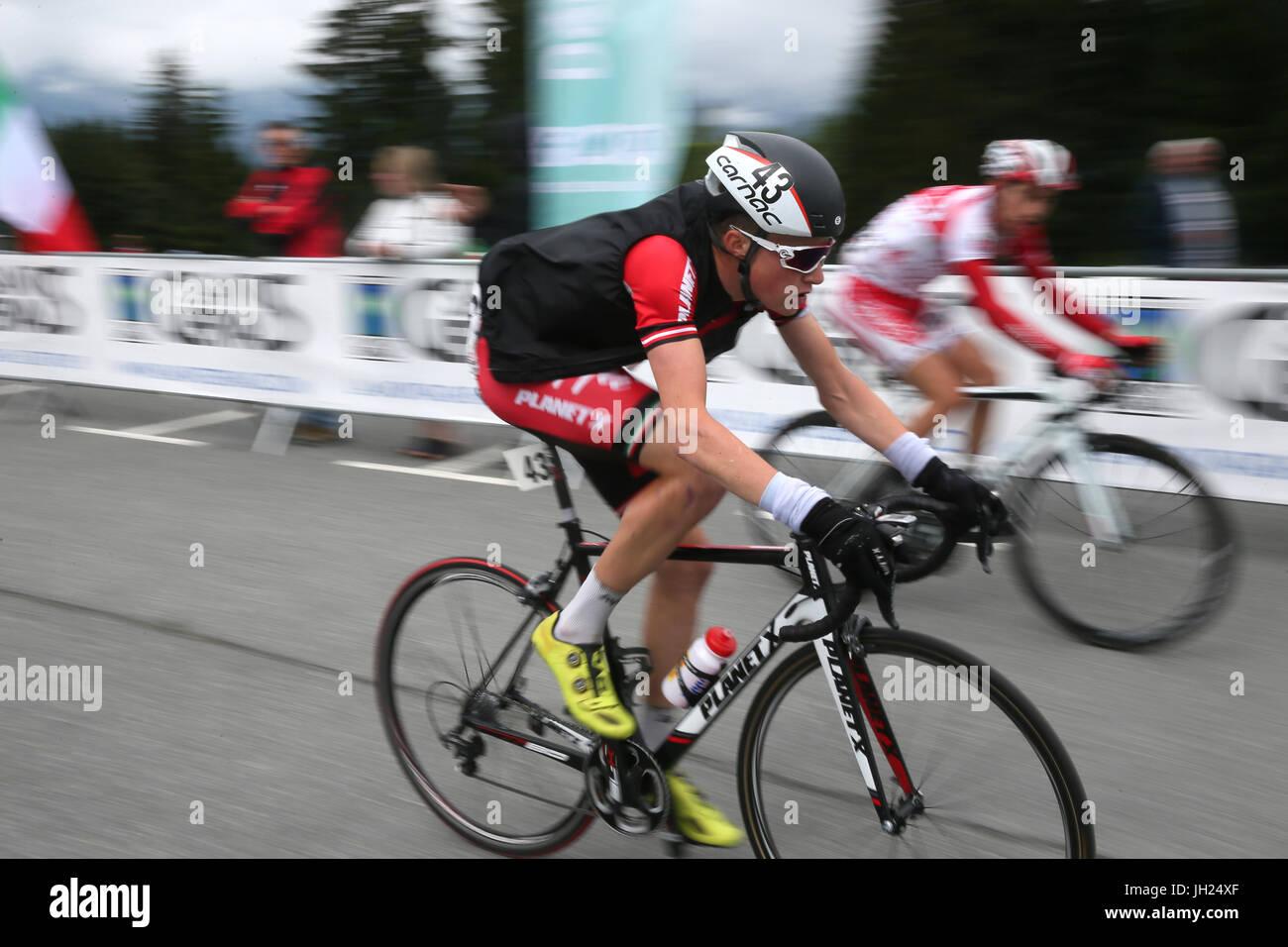 Giro della Valle d'Aosta corsa in bicicletta. La linea di finitura. Saint-Gervais-les-Bains. La Francia. Foto Stock