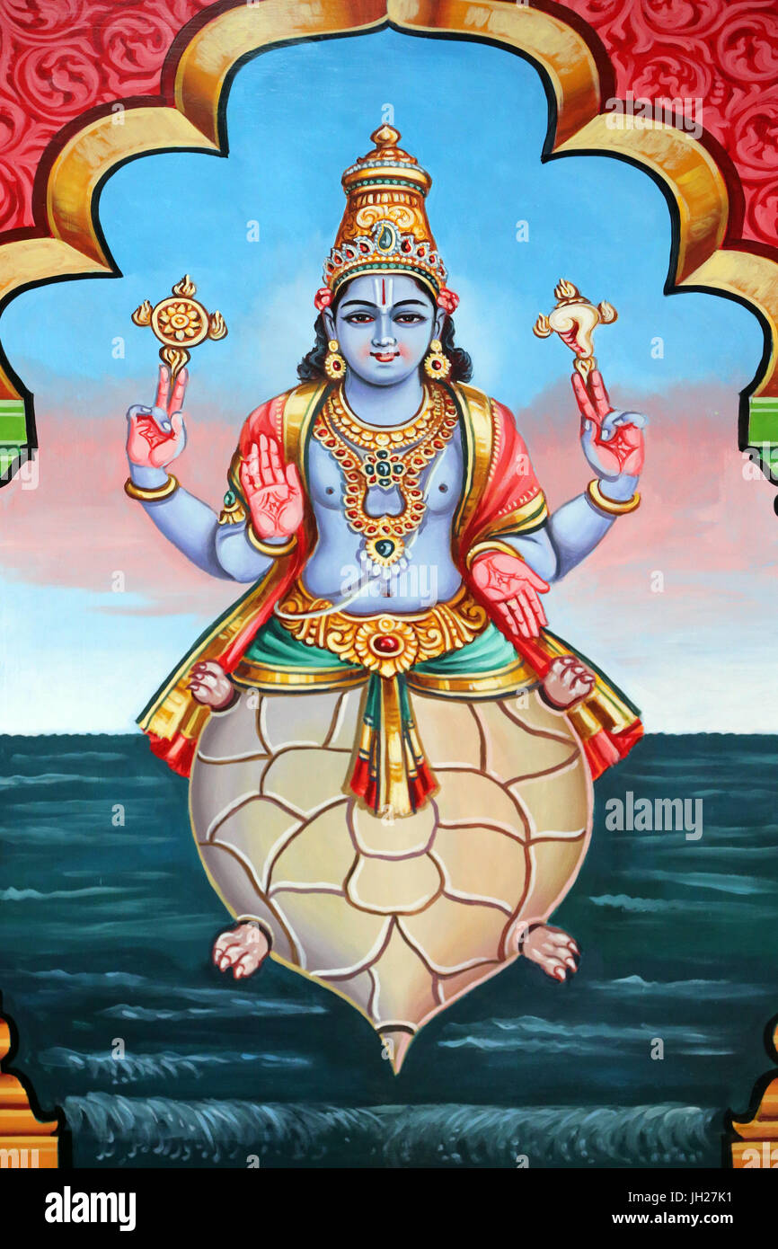 Sri Vadapathira Kaliamman tempio indù. Avatar di Vishnu. Kurma seconda incarnazione. Singapore. Immagini Stock