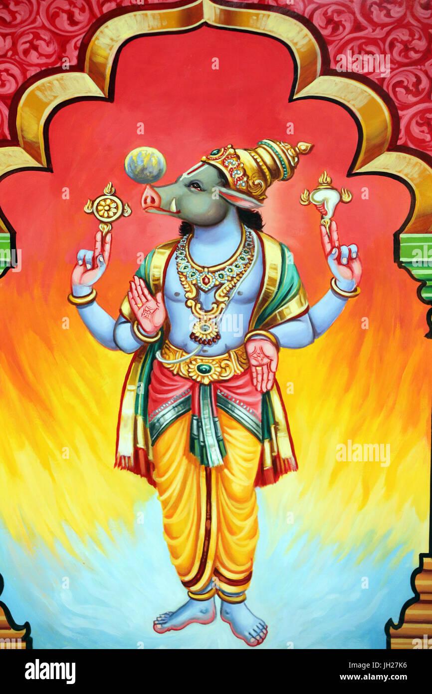 Sri Vadapathira Kaliamman tempio indù. Avatar di Vishnu. Varaha terza incarnazione. Singapore. Immagini Stock