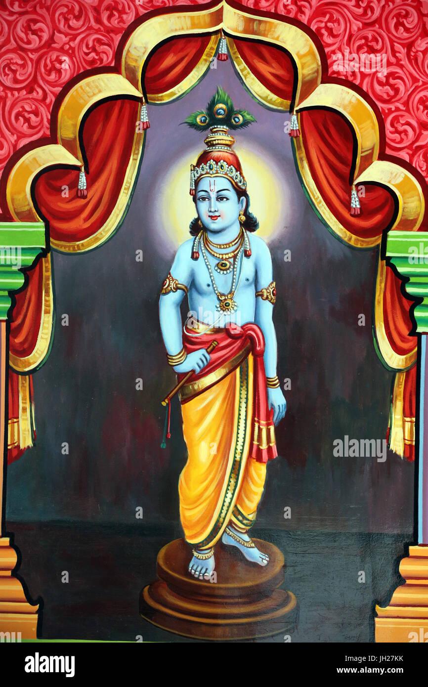 Sri Vadapathira Kaliamman tempio indù. Avatar di Vishnu. Krishna. Singapore. Immagini Stock