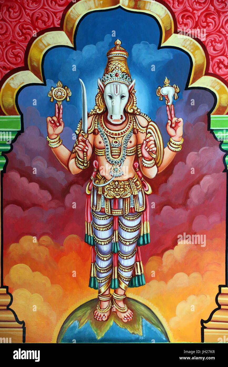 Sri Vadapathira Kaliamman tempio indù. Avatar di Vishnu. Kalki decima incarnazione. Singapore. Immagini Stock