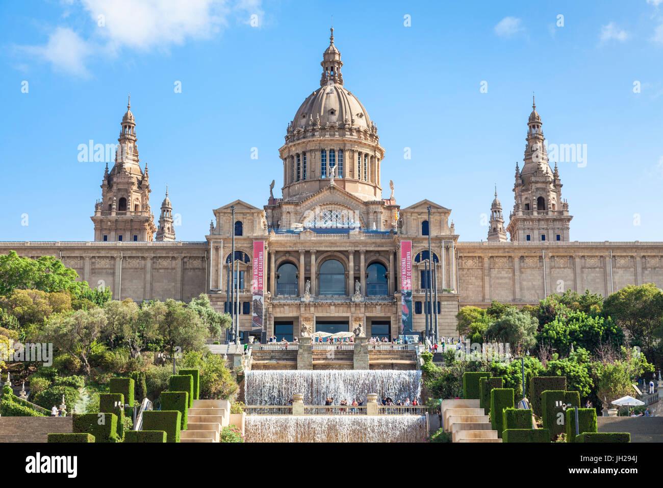 La Fontana Magica di Montjuic sotto il Palau Nacional, MNAC, Galleria d'Arte Nazionale, barcellona catalogna (Catalunya), Foto Stock