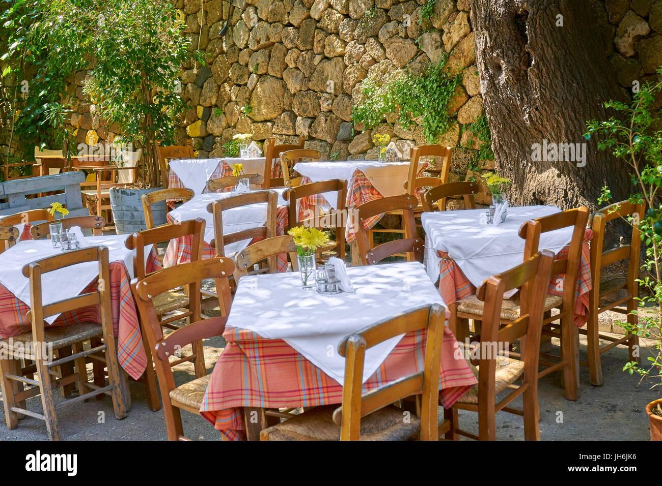 Ristorante a Chania Old Town, Creta, Grecia Immagini Stock