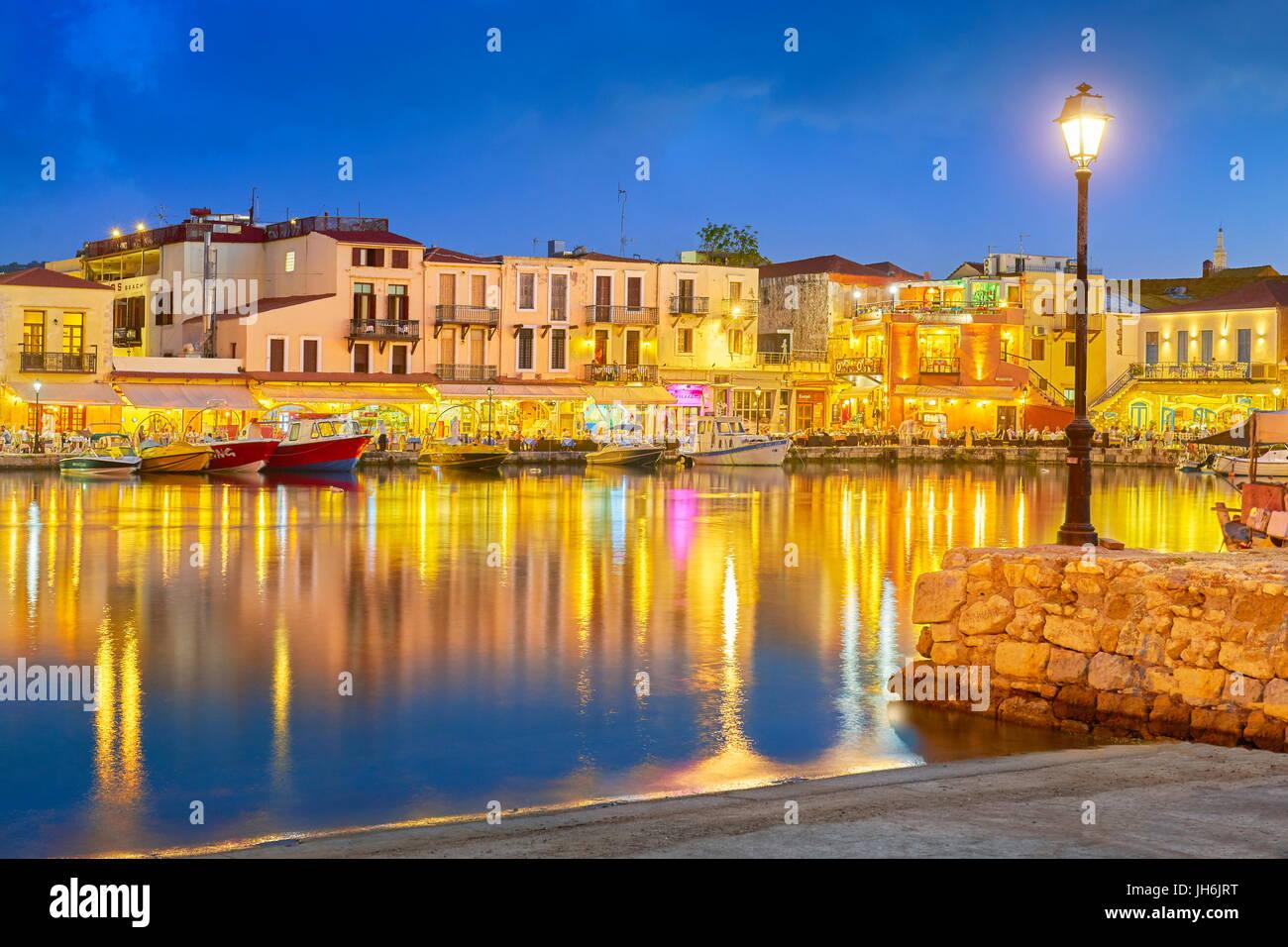 Il vecchio porto veneziano, Rethimno, Creta, Grecia Immagini Stock
