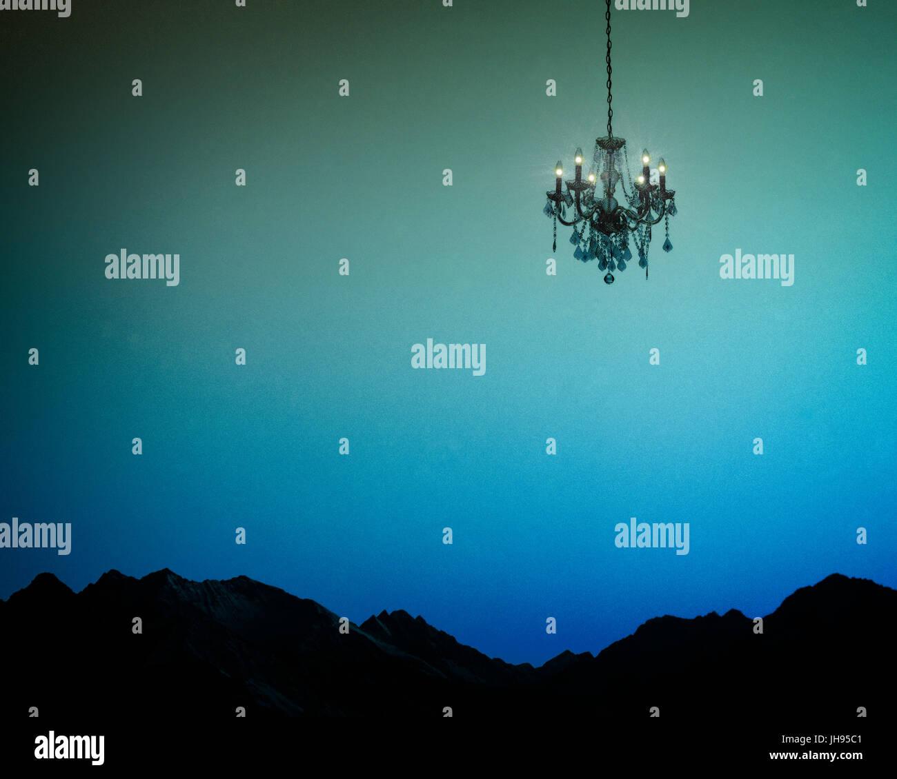 La copertina del libro il concetto: la luce notturna Immagini Stock