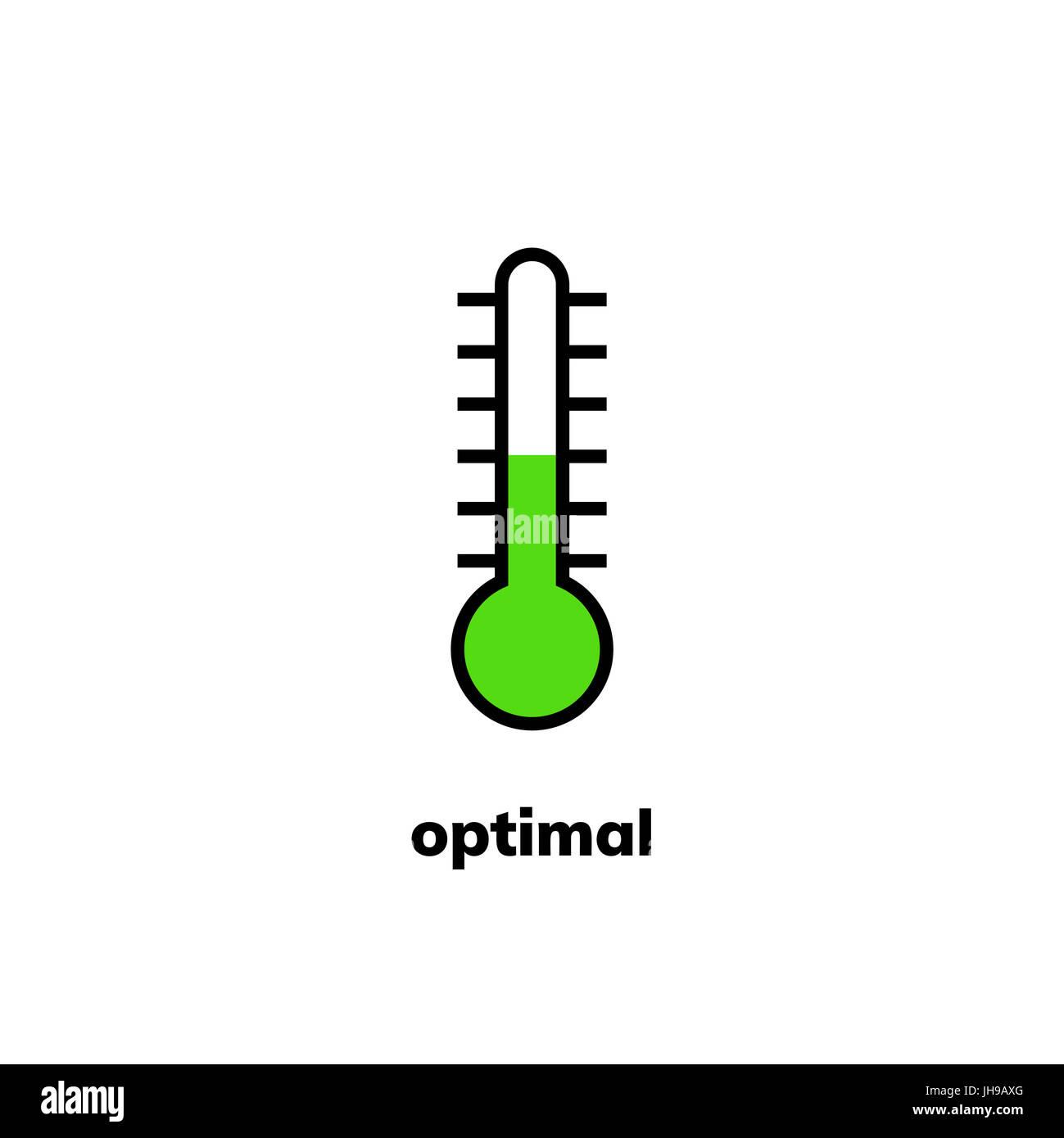 Icona della temperatura, clip art. A stretta gamma termometro a mercurio mostra meteo ottimale Immagini Stock
