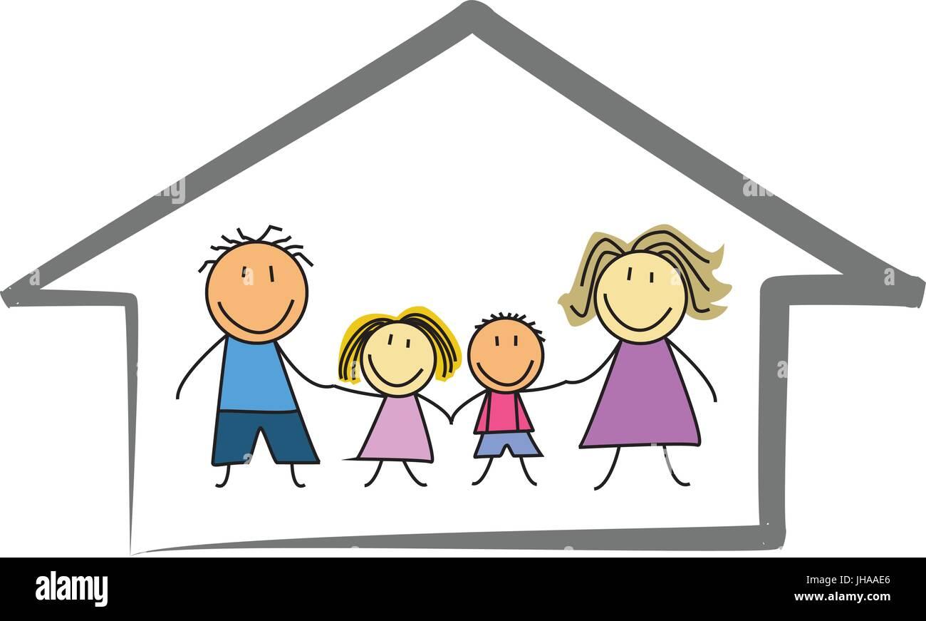 Happy Family Home Casa Bambini Disegno Illustrazione