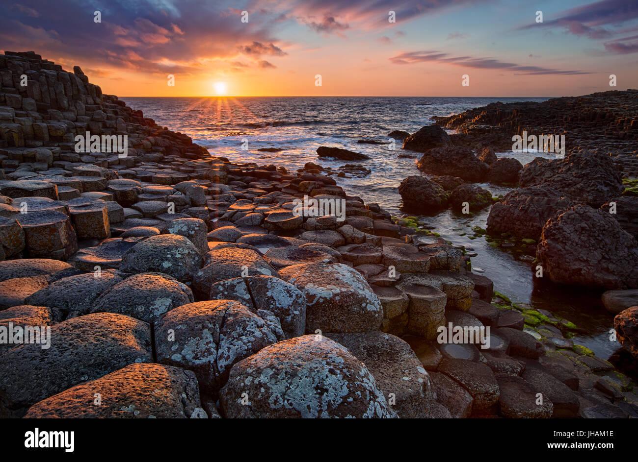 Tramonto su colonne di basalto Giant's Causeway, County Antrim, Irlanda del Nord Foto Stock