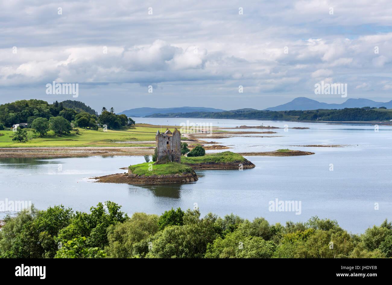 Castle Stalker, Loch latch, Port Appin, Argyll and Bute, Scotland, Regno Unito. Paesaggio scozzese / Paesaggi Immagini Stock