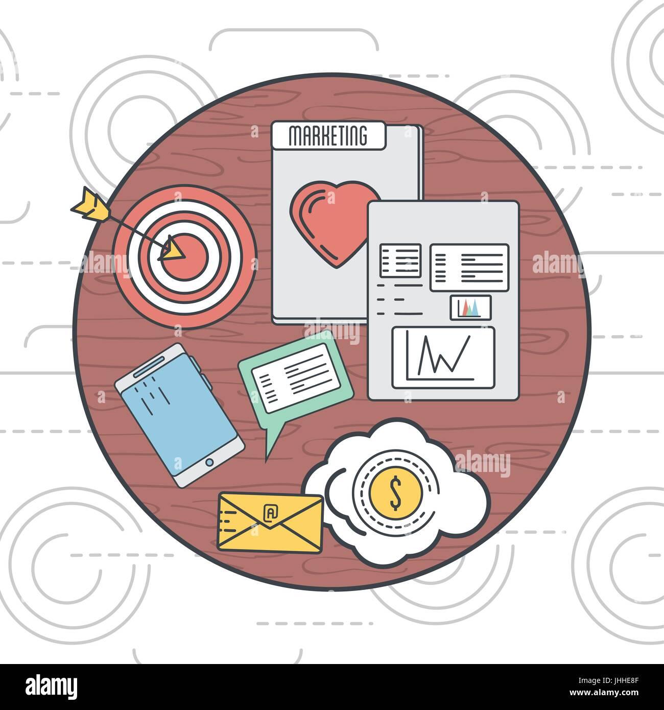 Emblema marketing business icona delle informazioni Immagini Stock