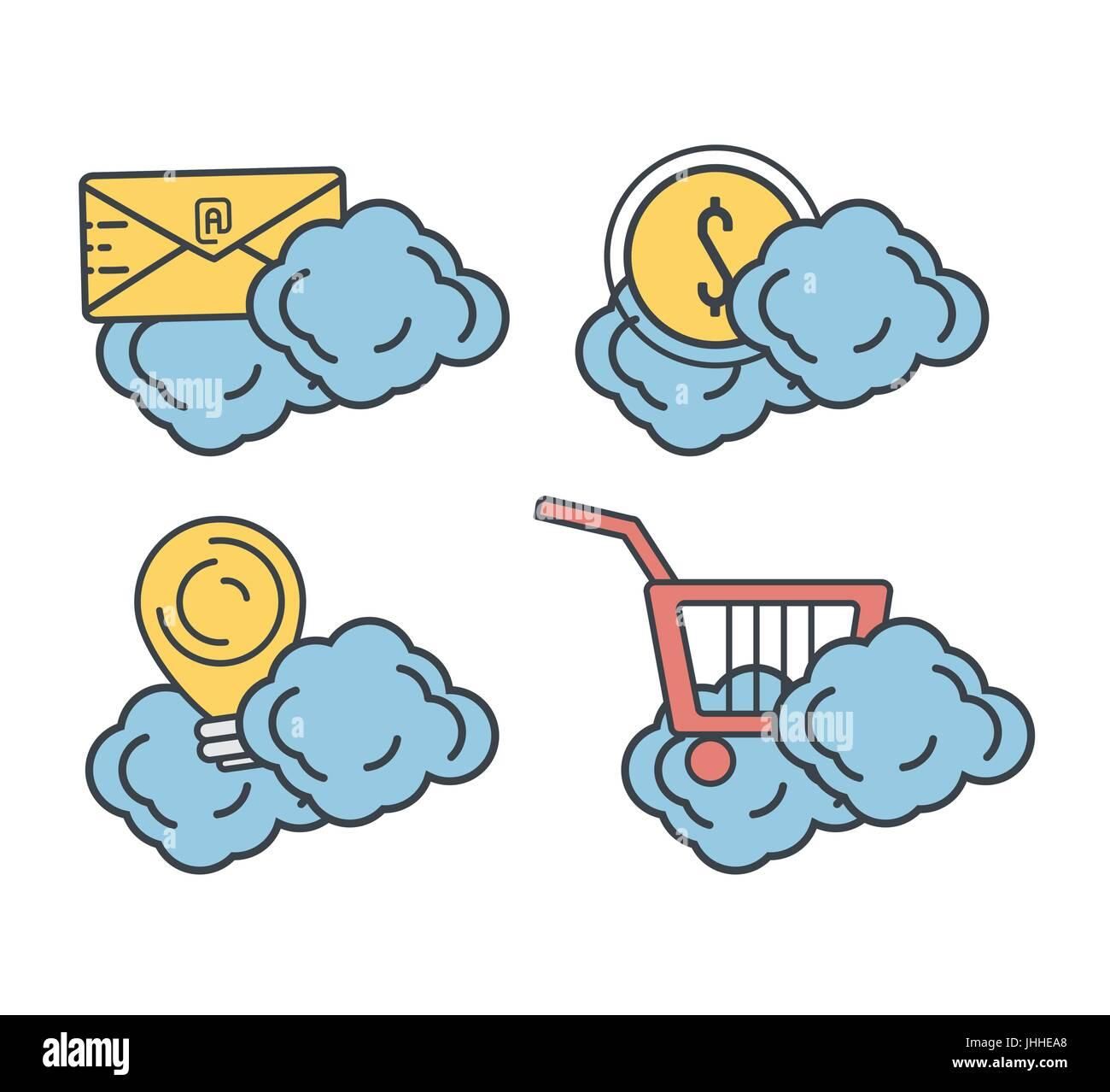 Impostare le informazioni sulla tecnologia cloud con servizio dati Immagini Stock
