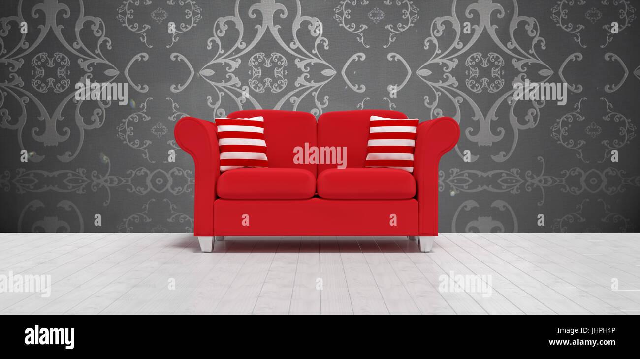 Divano Rosso Cuscini : D illustrazione del divano rosso con cuscini contro elegante