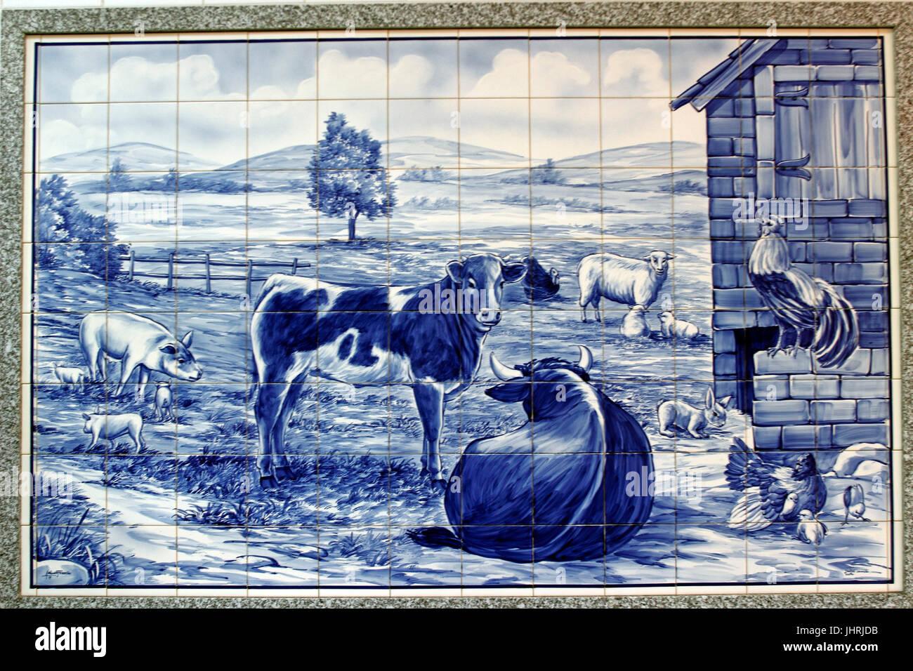Piastrelle decorative azulejos parete in macelleria aveiro
