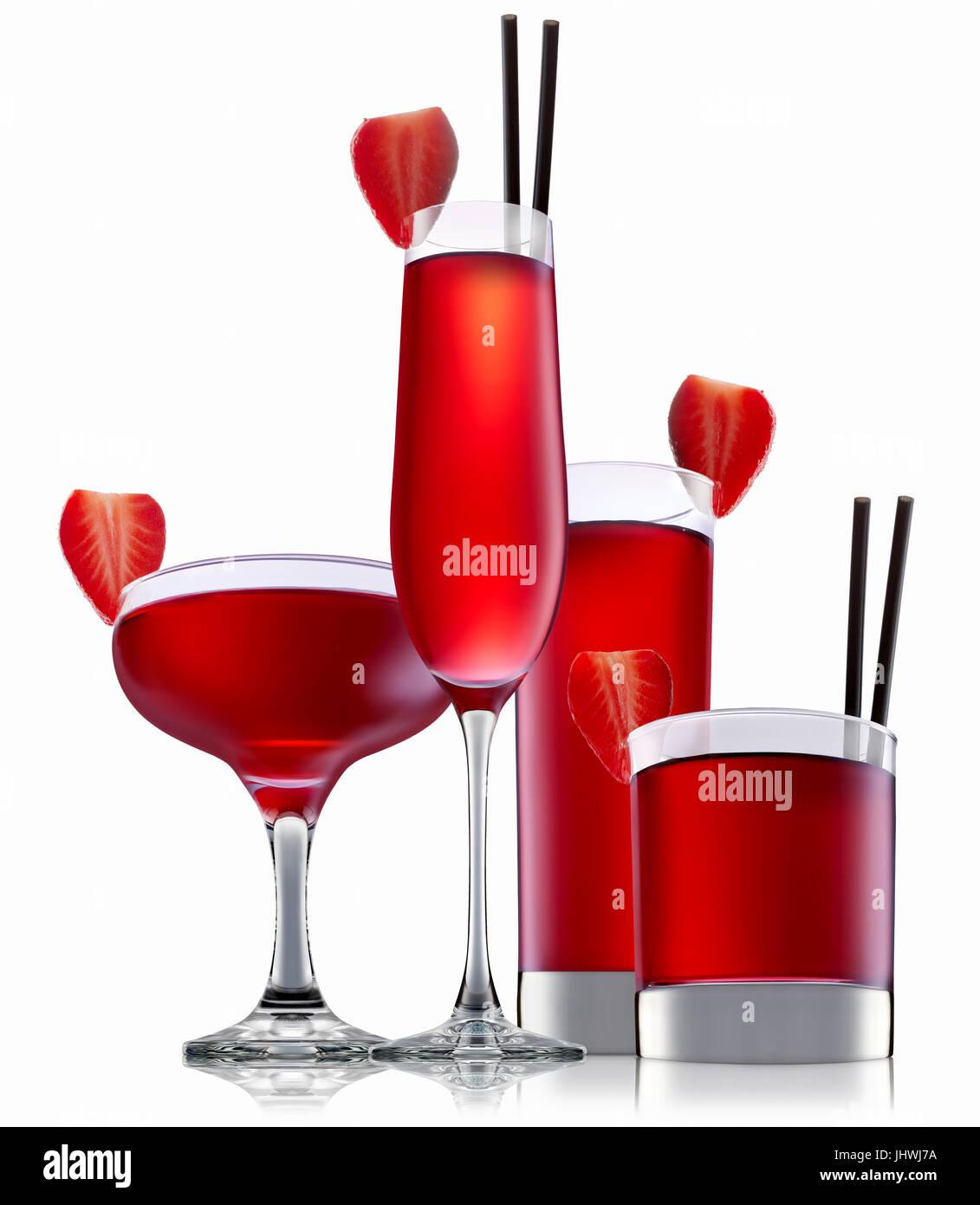 Cocktail alcolici isolati su sfondo bianco Immagini Stock