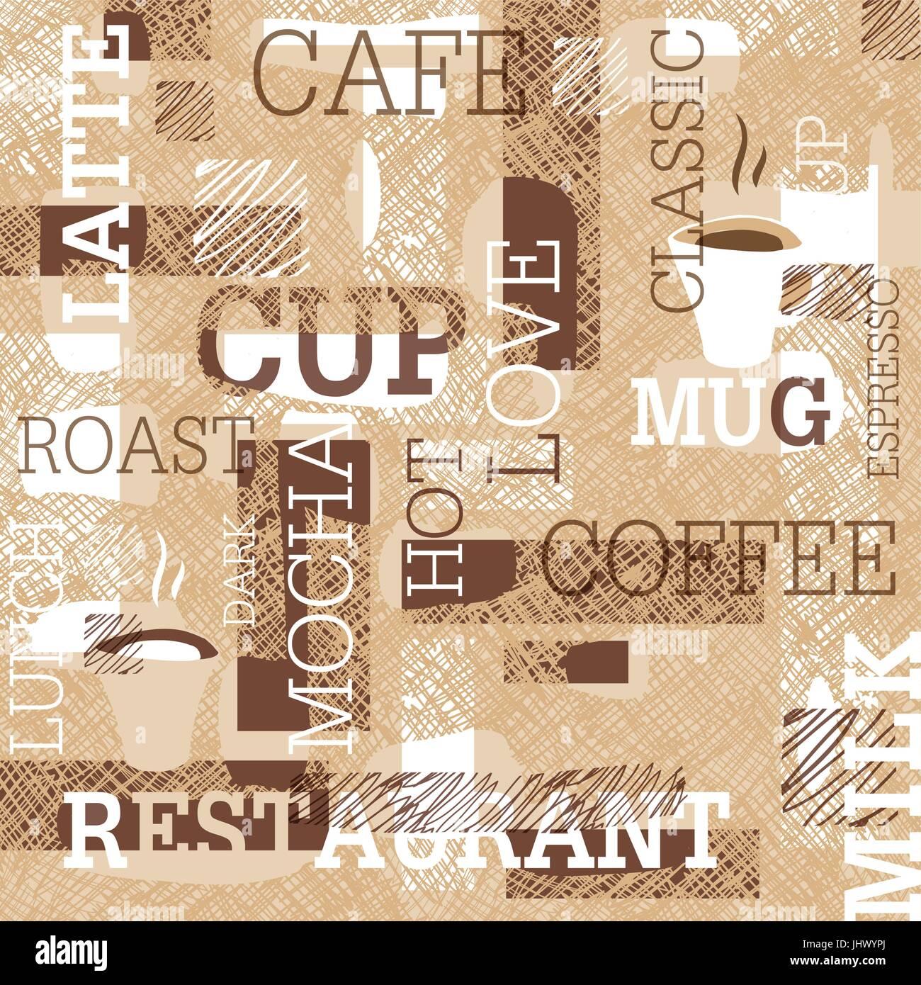 Il caffè a tema pattern senza giunture. Parole, tazze di caffè e scarabocchi creativi. Il beige e marrone Immagini Stock