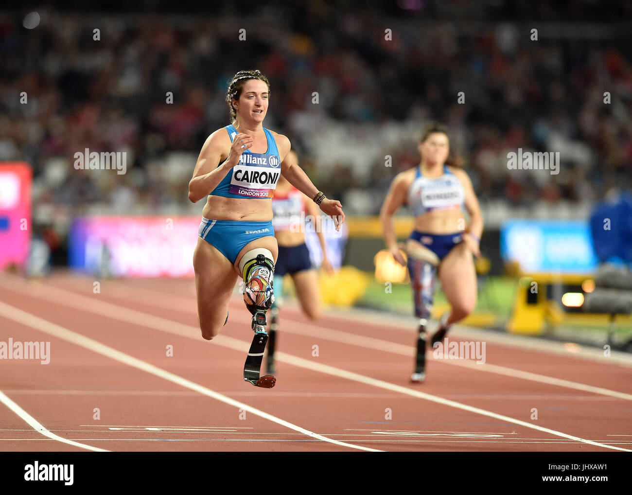 Londra, Regno Unito. 16 Luglio, 2017. Martina Caironi vince la donna 1000M T42 durante la Finale Mondiale del Para Immagini Stock