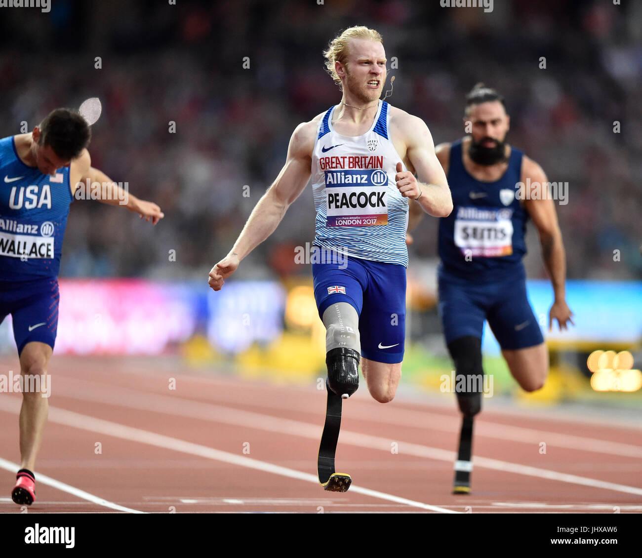 Londra, Regno Unito. 16 Luglio, 2017. Jonnie Peacock in uomini 100M T44 durante la Finale Mondiale del Para Atletica Immagini Stock