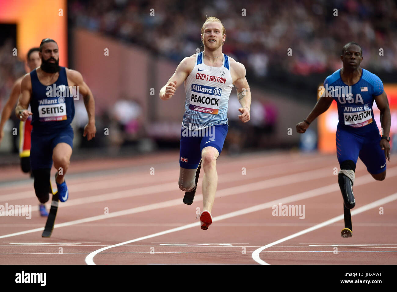 Londra, Regno Unito. 16 Luglio, 2017. Jonnie Peacock in uomini 100M T44 durante il mondo Para Atletica Londra 2017 Immagini Stock