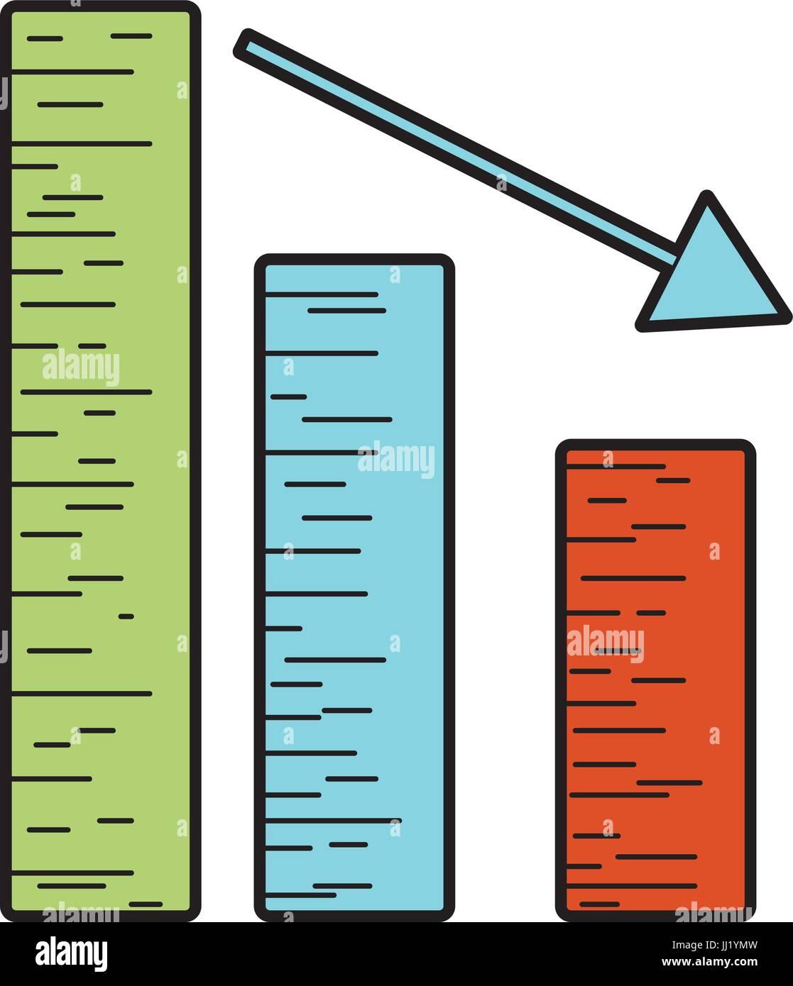 Barra statistica con la freccia verso il basso per azienda Immagini Stock