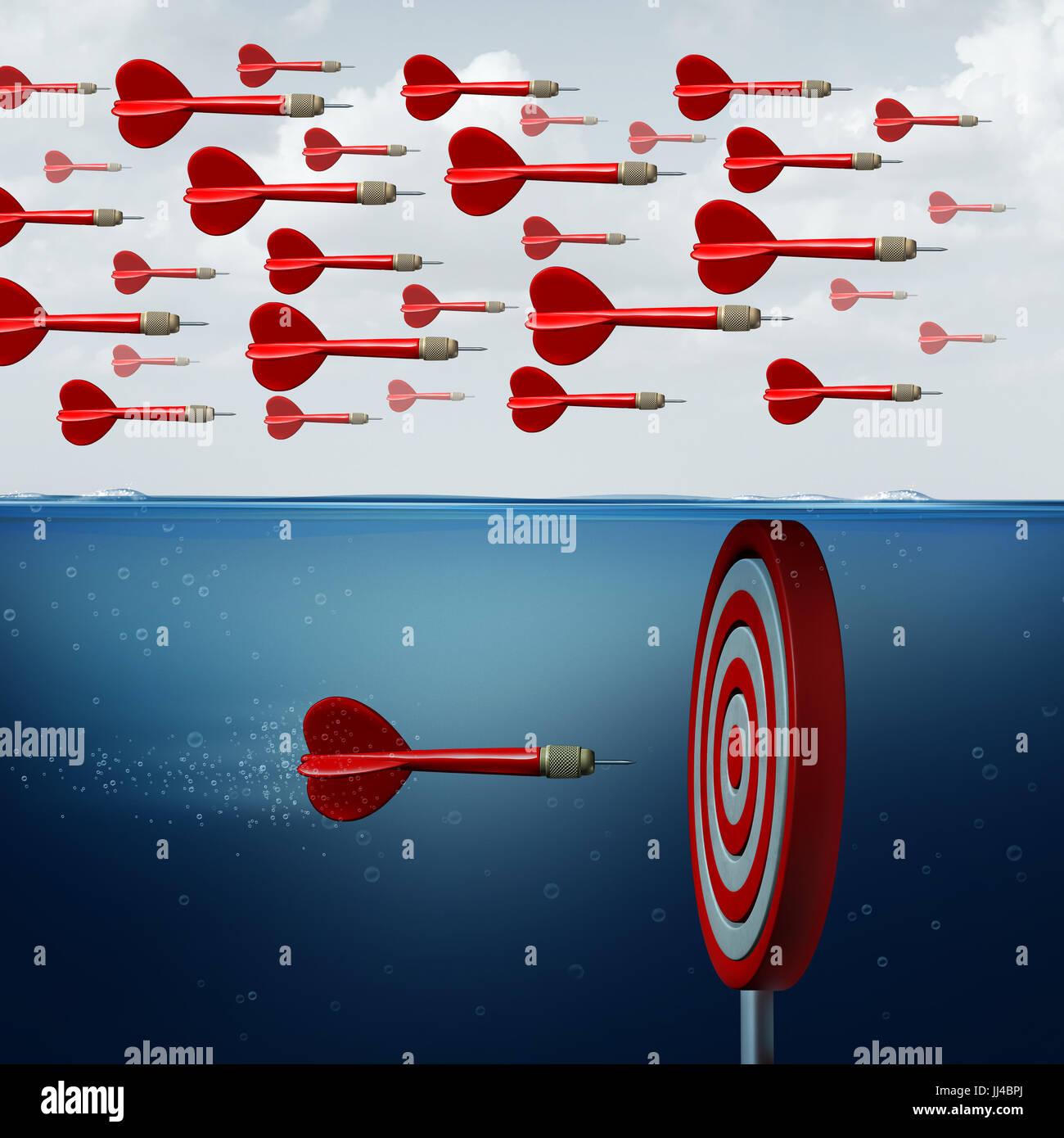 Trovare opportunità nozione come un gruppo di seguaci manca l'opportunità sotto l'acqua come un Immagini Stock