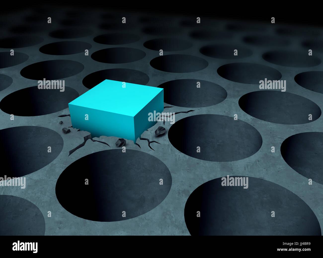 Avversità il concetto di strategia rendendo il lavoro business idea come un piolo quadrato forzata in un foro Immagini Stock