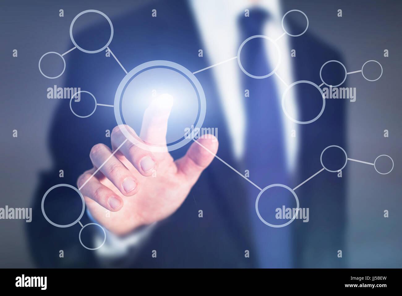 Diagramma di flusso su abstract touch screen, business schema di processo o il concetto di obiettivo Immagini Stock