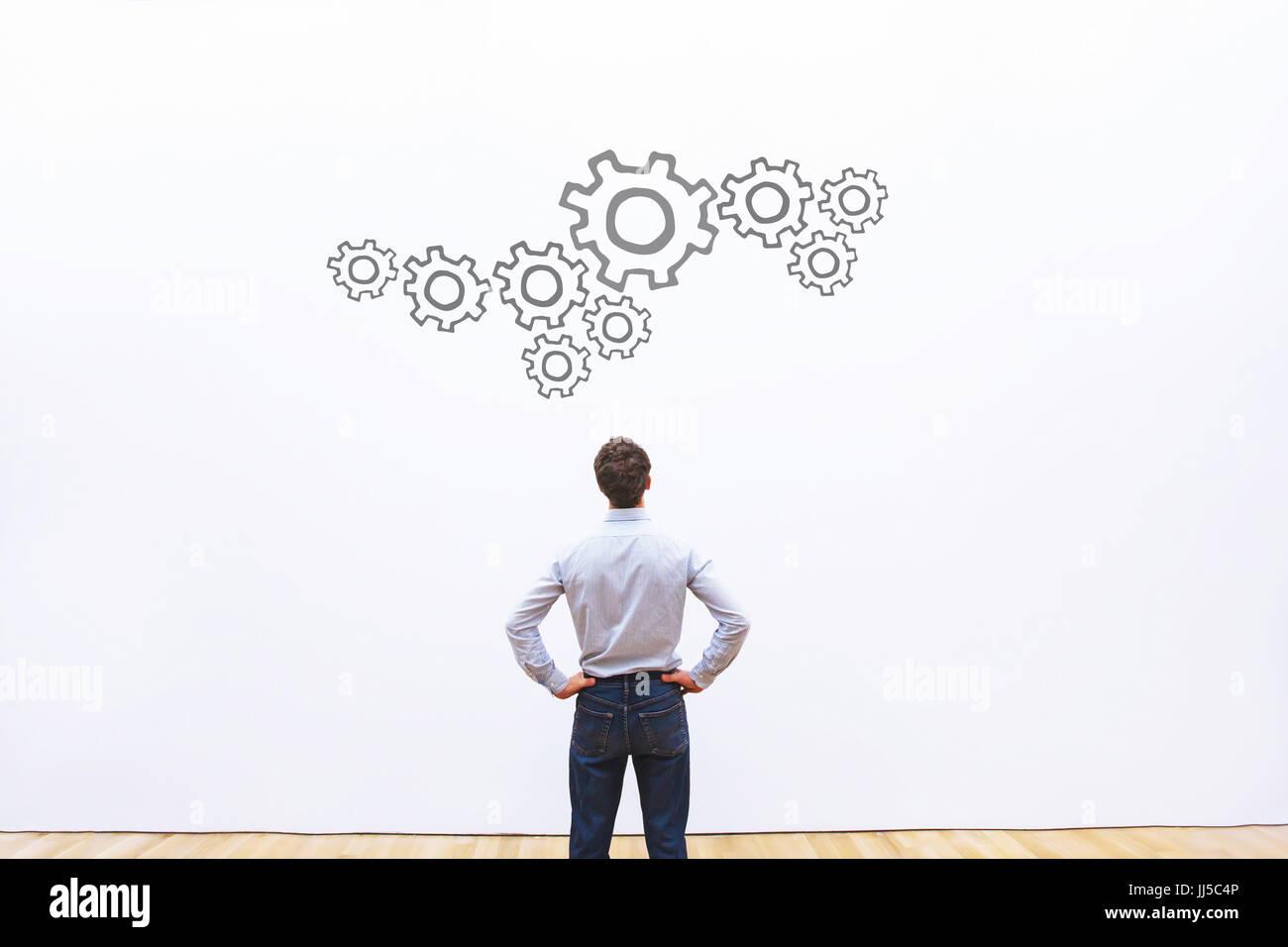 Il concetto di processo, meccanismo di business, la trasformazione Immagini Stock